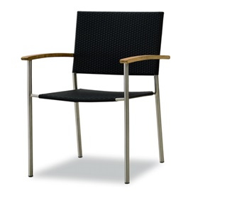TEAKWOOD/STAINLESS STEEL STACKING ARMCHAIR WITH POLYRATTAN