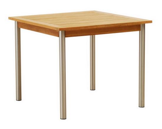 TEAKWOOD/STAINLESS STEEL SQUARE TABLE