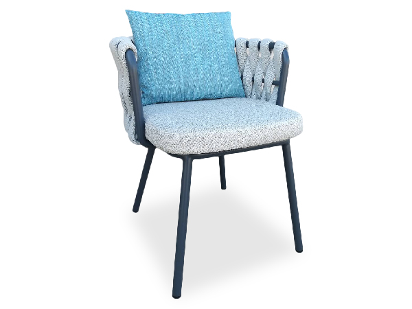 เก้าอี้อลูมิเนียมถักเชือกพร้อมเบาะและหมอนผ้า | ALUMINIUM ARMCHAIR WITH ROPE WITH CUSHION AND PILLOW
