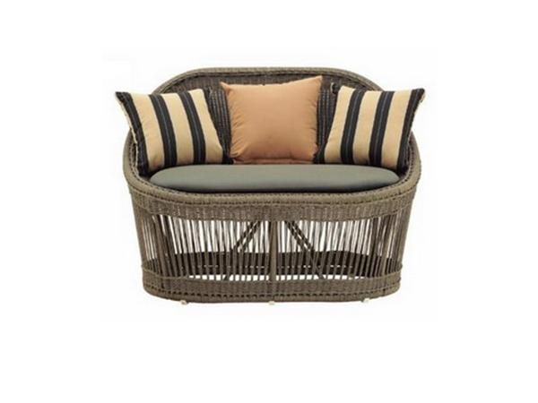 POLYRATTAN 2-SEATER SOFA WITH CUSHION AND 2 PILLOWS