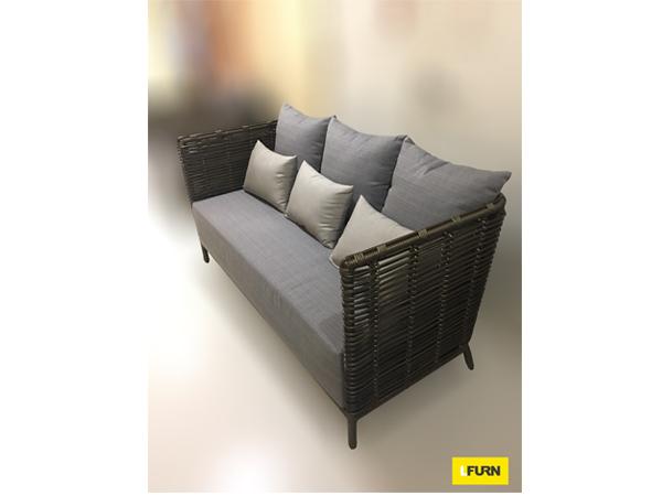 โซฟาหวายสังเคราะห์โครงอลูมิเนียมเบาะผ้าสเปนเดอร์ 3 ที่นั่ง Queen Park Synthetic Rattan Double Lounge Sofa