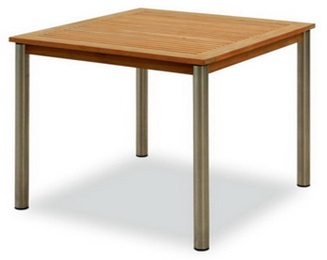 TEAKWOOD/STAINLESS STEEL SQUARE TABLE