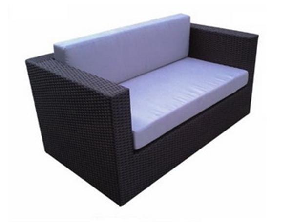 POLYRATTAN 2-SEATER SOFA WITH SEAT AND BACK CUSHION