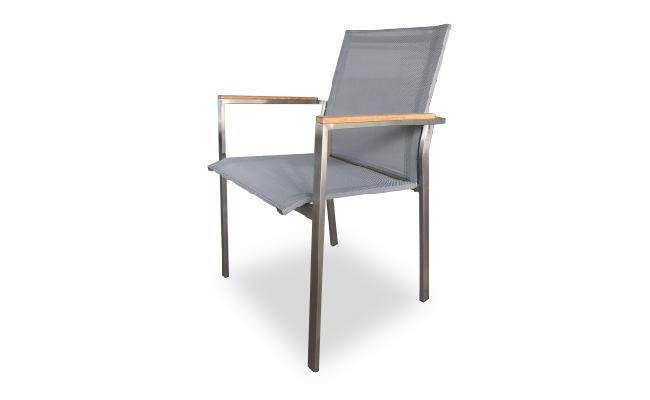 เก้าอี้สเตนเลสท้าวแขนไม้สักบุผ้าใยสังเคราะห์ | TEAK/STAINLESS STEEL STACKING ARMCHAIR WITH SYNTHETIC FABRIC