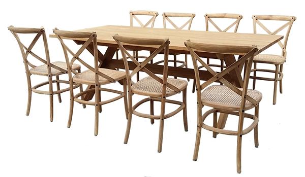 ชุดโต๊ะขากากบาทพร้อมเก้าอี้ทำจากไม้สักทองถักหวาย RECLAIMED TEAK RECTANGULAR TABLE + RATTAN INDOOR SIDECHAIR