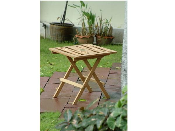 TEAKWOOD FOLDING END TABLE WITH PARASOL HOLE