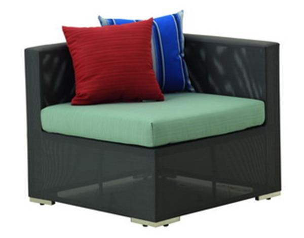 CORNER SOFA WITH SYNTHETIC FABRIC AND SUNBRELLA CUSHION