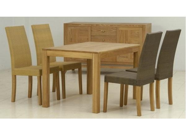 ชุดโต๊ะอาหารไม้สักพร้อมเก้าอี้ไม้สักทองถักหวายสังเคราะห์และตู้โชว์ไม้สักทอง MARINA DINING SET WITH SIDEBOARD