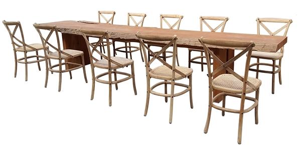 ชุดโต๊ะไม้สักยาว 4 เมตรพร้อมเก้าอี้ไม้สักทองถักหวาย MASSIVE RECLAIMED TEAK RECTANGULAR TABLE + RATTAN INDOOR SIDECHAIR