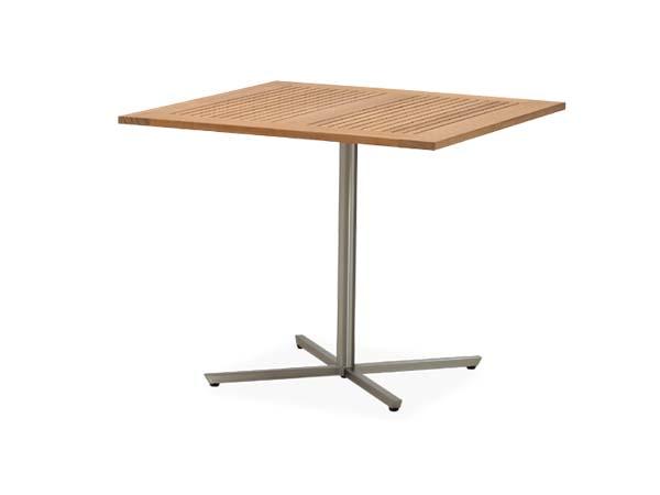 โต๊ะไม้สักทองโครงสแตนเลสทรงสี่เหลี่ยมจัตุรัส TEAK / STAINLESS STEEL PEDESTAL SQUARE TABLE