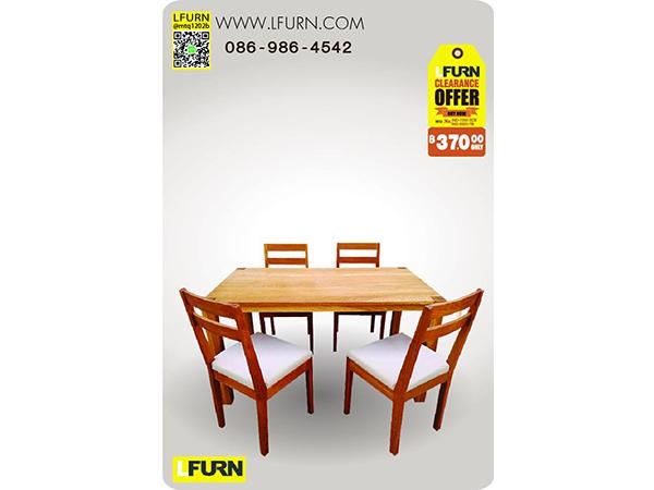 ชุดโต๊ะอาหารไม้โอ๊คและเก้าอี้ไม้โอ๊คมีเบาะนั่ง MARINA DINING TABLE WITH ELINA SIDECHAIR WITH CUSHION