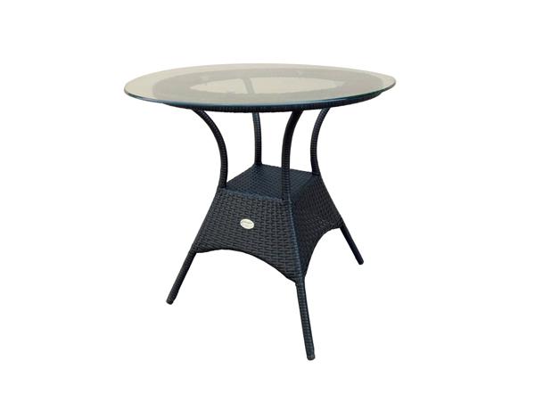 โต๊ะหวายสังเคราะห์หน้าโต๊ะกระจกทรงกลม POLYRATTAN ROUND TABLE