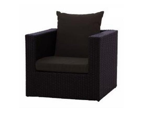 POLYRATTAN 1-SEATER SOFA WITH SEAT AND BACK CUSHION