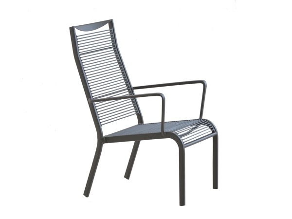 เก้าอี้อลูมิเนียมสลิงหลังพิงสูง ALUMINIUM HIBACK ARMCHAIR WITH ROPE