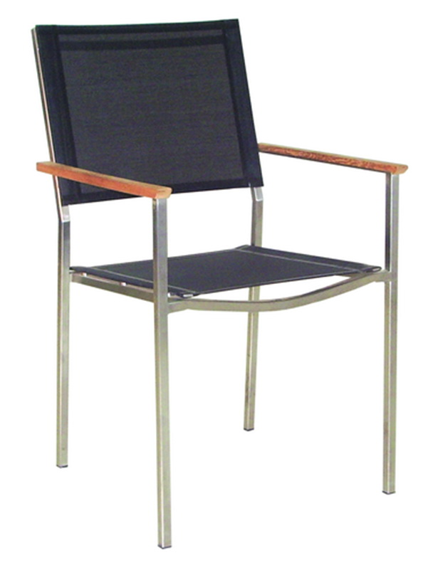 TEAKWOOD / STAINLESS STEEL STACKING ARMCHAIR WITH SYNTHETIC FABRIC