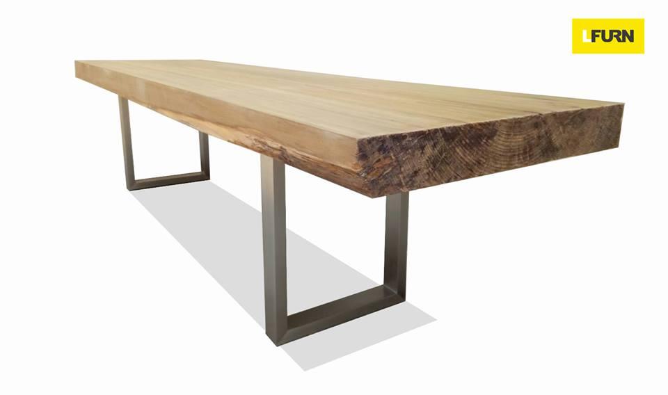 โต๊ะไม้ซุงแผ่นเดียวขนาด 3.2 เมตร ขาสแตนเลส MASSIVE TEAK / STAINLESS STEEL RECTANGULAR TABLE