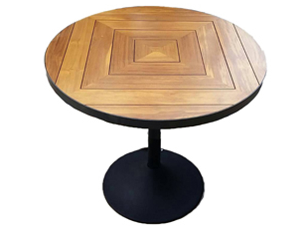 โต๊ะโครงอลูมิเนียมสีดำด้านบนทำจากไม้สักทรงกลม TEAK / ALUMINIUM ROUND TABLE