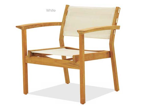 TEAK STACKING LOUNGE CHAIR WITH SYNTHETIC FABRIC