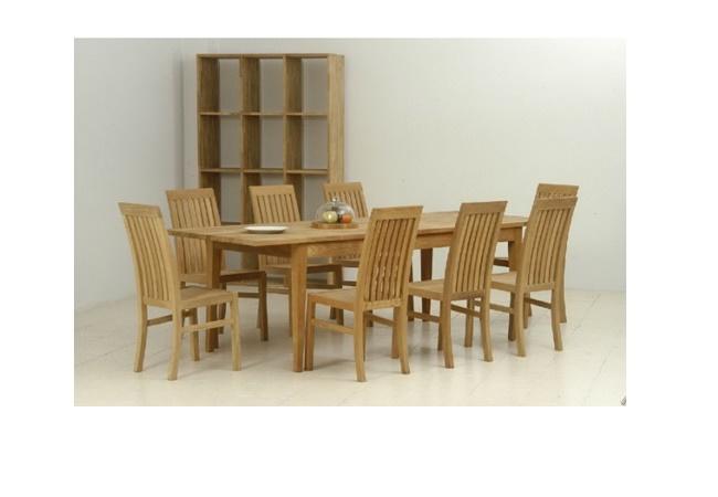 ชุดโต๊ะอาหารไม้สักพร้อมเก้าอี้ไม้สักและชั้นวางไม้สักทอง FLORENCE RECTANGULAR TABLE DINING SET WITH BOOK SHELF