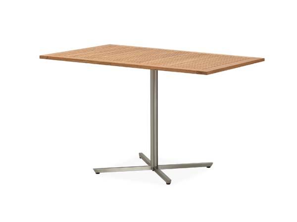 โต๊ะไม้สักทองโครงสแตนเลสทรงสี่เหลี่ยมผืนผ้า TEAK / STAINLESS STEEL PEDESTAL RECTANGULAR TABLE