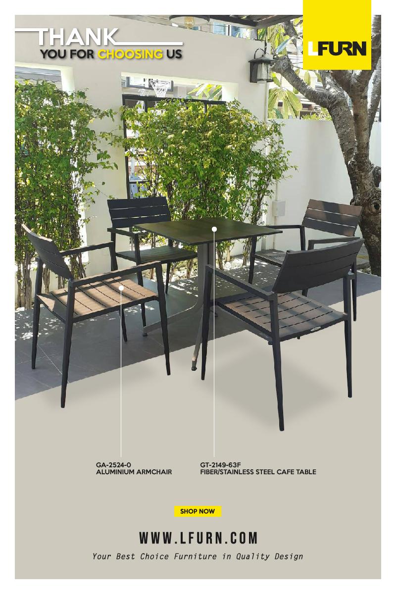 Fiber / Aluminium Folding Table with Aluminium Armchairs