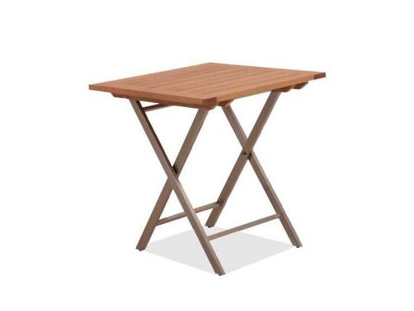 โต๊ะพับโครงสแตนเลสหน้าโต๊ะไม้สัก TEAK / STAINLESS STEEL  SQUARE FOLDING TABLE