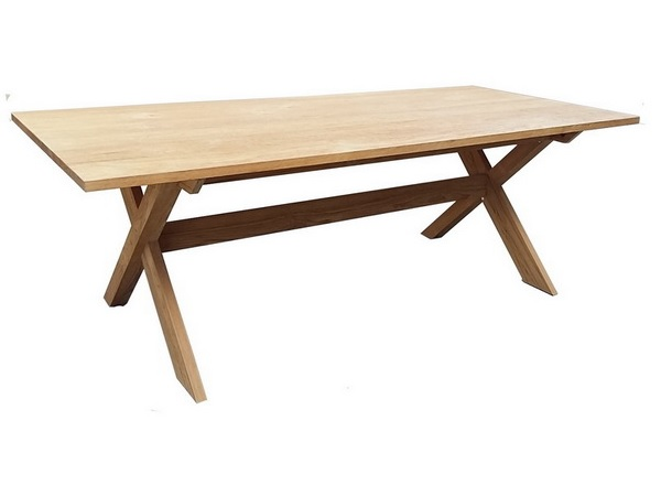 โต๊ะขาไขว้ทำจากไม้สักทองแท้ RECLAIMED TEAK RECTANGULAR TABLE
