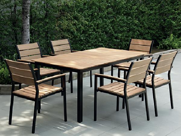 โต๊ะกินข้าวหน้าไม้สักอลูมิเนียมยืด-หดได้พร้อมเก้าอี้มีท้าวแขนซ้อนได้   Teak / Aluminium Rectangular Extension Table with Teak / Aluminium Stacking Armchair